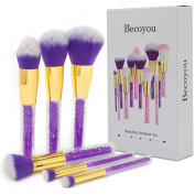 Becoyou Professional Makeup Brush Set, 6 Pieces Face Cosmetic Brushes Kit with Rhinestone Acrylic Smooth Handle for Power Foundation Eyebrow Blush Concealer, Purple