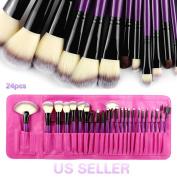 BeautyU & Me 24PCS Powder Foundation Cosmetic Makeup Brushes Set Eyeshadow Soft