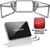 SELF-CUT SYSTEM 2.0 - LED Lighted Black Lambo 3 Way Mirror with Free Educational Mobile App