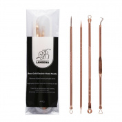 HUBEE ROSE GOLD PLATED BLACKHEAD PIMPLE COMEDONE REMOVER EXTRACTOR TOOL W/ 2 HOLES