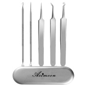 ASIMOON 5pcs Blackhead Remover Kit Curved Blackhead Tweezers Acne Pimple Comedone Extractor Tool Treatment for Blemish Whitehead Ingrown Hairs with Portable Metal Case and INTRUCTIONS