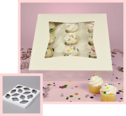 Pack of 10 Window Mini Cupcake Box 9 x 23cm x 6.4cm and Inserts w/Signature Party Picks