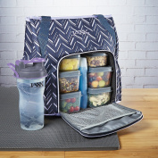 Fit & Fresh Jaxx FitPak Meal Prep Gym Tote with Portion Control Containers & 830ml Shaker Bottle