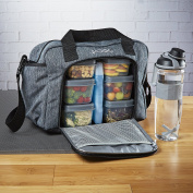 Fit & Fresh Jaxx FitPak Commuter Meal Prep Bag with Shoulder Strap, Portion Control Containers & 710ml Shaker Bottle