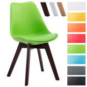 CLP Visitor chair BORNEO V2, faux leather, retro style, wooden frame, material mixture of plastic green, colour of frame