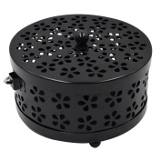 Millya Mosquito Coil Holder with Cover Classical Metal Anti-scald Hollow Out Incense Holder,Black