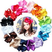 16pcs 15cm Solid Ribbon Pinwheel Hair Bow Alligator Clips With Glitter Sparkly Rhinestones For Girls,Toddlers,Kids