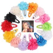 Veewon 15 x Mixed Kids Child Hair Snap Clips Hair Grip Chiffon Ribbon Flower Hair Clips Accessories
