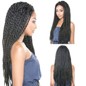 NEWFEIBIN Synthetic Hair Braided Lace Front Wig For Black Woman Natural Black Colour 60cm