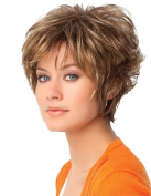 MIKWIG Premium Short Blonde Curly Wigs-Boycut Layered Blonde Synthetic Hair Wigs For Women