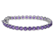 13.60Ct 5mm Round Natural African Purple Amethyst 925 Sterling Silver Tennis Bracelet