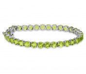 17Ct 5mm Round Natural Peridot Solid 925 Sterling Silver Tennis Bracelet