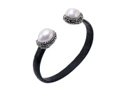 JYX Black Snakeskin & White Baroque Pearl Bangle with Crystals Buff Bracelet