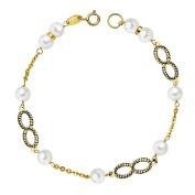 First Communion bracelet 18k gold 5.5mm 18cm Pearl infinite [AB2371]