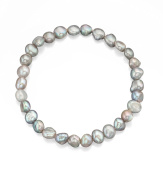 Grey Freshwater Cultured Pearl Stretch Bracelet - British Made