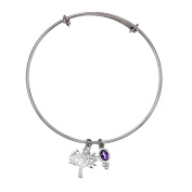 Sea Gems Sterling Silver Tree of Life Bangle With Amethyst Charm - British Made - Hallmarked