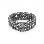 Bling Jewellery Triple Strand 6mm Simulated Grey Pearl Stretch Bracelet 6in