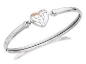 Clogau Womens Jewellery Silver And 9ct Rose Gold Diamond Heart Bangle Bracelet