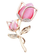 FENGJI Tulip Flowers Gold and Silver Plated Rhinestone Brooch Pin for Women Ladies Festival Gift
