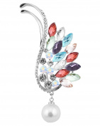 FENGJI Fashion Gold,Silver Plated Elements Crystal Statement Angel Wing Faux Pearl Brooch Pin for Women