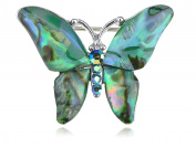 Alilang Silvery Tone Abalone Coloured Stones Green Blue Butterfly Brooch Pin