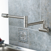 Eyekepper Wall Mounted Pot Filler Kitchen Faucet With Double Joint Swing Arm Brushed Nickel