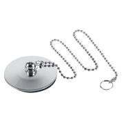 Chrome Kitchen Sink Bathroom Bathtub Plug Drain Stopper Solid Metal Waste Plug With Ball Chain