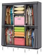 YOUUD Portable Clothes Closet Wardrobe Non-woven Fabric Storage Organiser with Shelves Grey