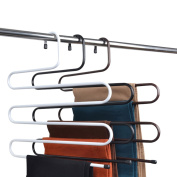 Tosnail 3 Pack Multi Layers Metal Pant Slack Hangers - Closet Storage for Jeans Trousers Space Saver Storage Pant Rack