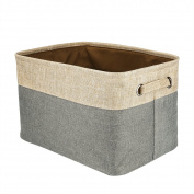 Foldable Convenient Storage Box Organising Basket Closet Organiser with Handles, Cotton & Jute