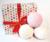 Bath bomb gift box set 4 x 180g extra large jumbo bathbombs - Star gift wrapped box