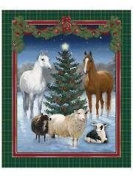 """""""Wild Wings"""" Horses at Cristmas Cotton Fabric Panel (Great for Quilting, Sewing, Craft Projects, a Child's Quilt & More) 110cm x 90cm Wide"""