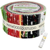 Jingle all the way! Precut Fabric Strip Jelly Roll, 100cm - 6.4cm strips Bundled with a 200cm measuring tape for your crafting projects.