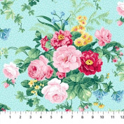 Julia's Garden Turquoise With Large Pink Roses Northcott Cotton Fabric 21607-41