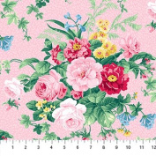 Julia's Garden Pink With Large Pink Roses Northcott Cotton Fabric 21607-21