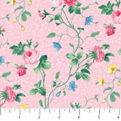 Julia's Garden Pink With Small Pink Roses Northcott Cotton Fabric 21609-21
