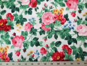 Julia's Garden White With Large Pink Roses Northcott Cotton Fabric 21608-10