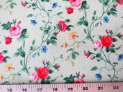 Julia's Garden White With Small Pink Roses Northcott Cotton Fabric 21609-10