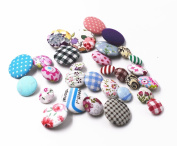 RayLineDo 30pcs Assorted Pattern and Size Cotton Fabric Covered Buttons 2 Holes Craft Sewing Button