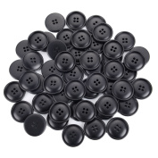 VNDEFUL 30Pcs Large Black Buttons 4 Hole Button Resin Coat Suit Dyed Large Big Edge Flatback Sewing Fasteners Buttons for DIY Craft Sewing 30mm 1.18in