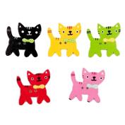 Acamifashion 50Pcs Cute Cat Kitten 2 Holes Wood Sewing Button Scrapbooking Decor