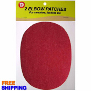 Two Oval Denim Iron-On Elbow Patches 11cm x 14cm - Red