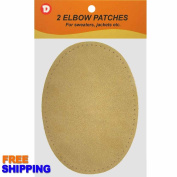 Two Large Sew-On Natural Suede Elbow Patches 12cm x 17cm - Camel