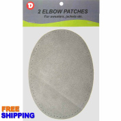 Two Large Sew-On Natural Suede Elbow Patches 12cm x 17cm - Lt. Grey
