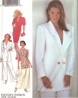Style vintage sewing pattern 2411 wide leg pants suit - Size 8-18