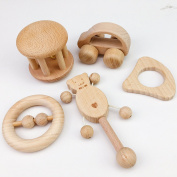Mamimami Home Baby Toy Beech Wooden Teether Rattle 5PC Montessori Play Gym Baby Crib Toy Sensory Activity Teether Rattle
