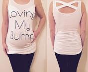 Womens Maternity Loving My Bump Slogan Spring / Summer white cross top t-shirt