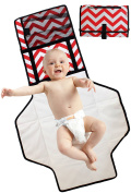 Boo Moi - Portable Baby Changing Mat and Mini Bag - Travel Mat. Lightweight, Waterproof and Durable. Wipe Clean, Cushioned Changing Pad. Red and White Chevron Design. Extra Long Design Suitable for Toddlers