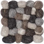 myfelt A GU Q/023 009 009 Hardy Felt Ball Coaster, Virgin wool, grey, 9 x 9 x 1.5 cm