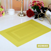 Set of 6 Placemats Mat PVC Antiskid Insulation Table Mat Cushion Shaped Disposable Environmental Protection Food Colour 30*45Cm,Greenish Yellow